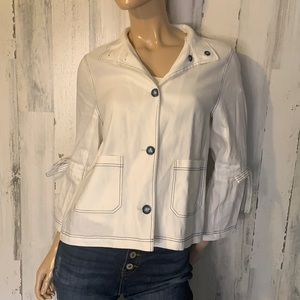 Tahari White Button Up Top